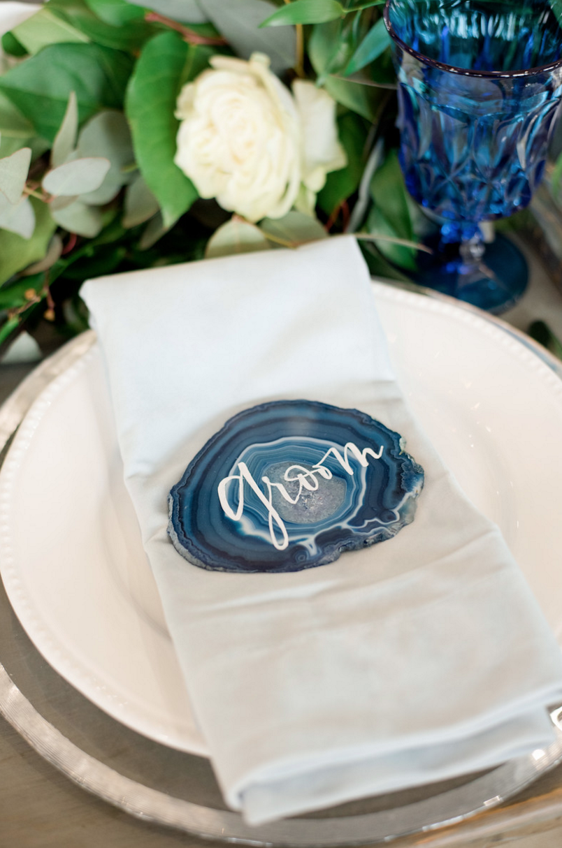 Agate Escort Cards Blue | Spring Texas Vineyard Wedding