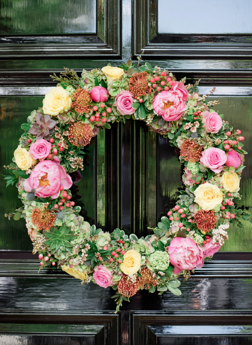 Vibrant Wedding Floral Wreath | Rustic Vibrant Southern Backyard BBQ in Fort Worth