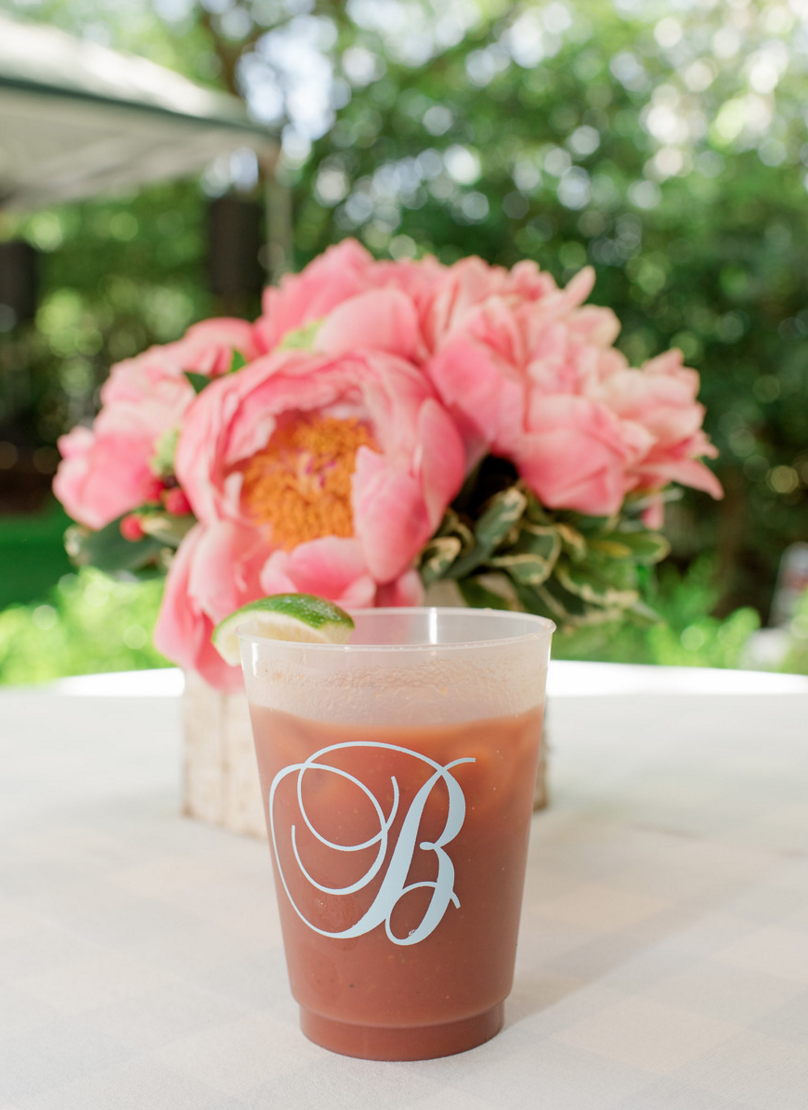 Custom Wedding Monogram Cups Party Favors | Rustic Vibrant Southern Backyard BBQ in Fort Worth