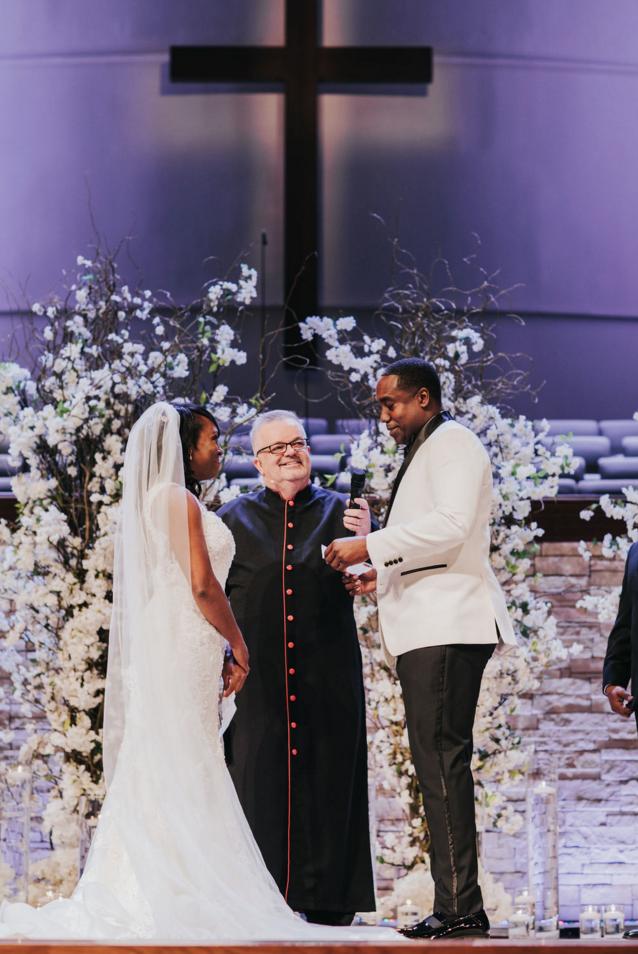 Floral Ceremony Backdrop | Downtown Dallas Wedding Ceremony