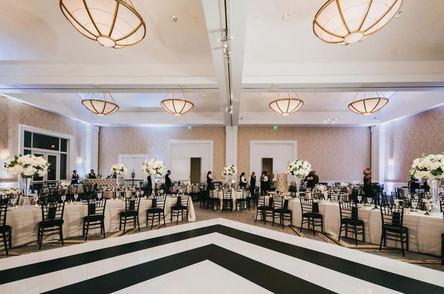 Modern Luxe Wedding Design | Black and White Custom Dance Floor