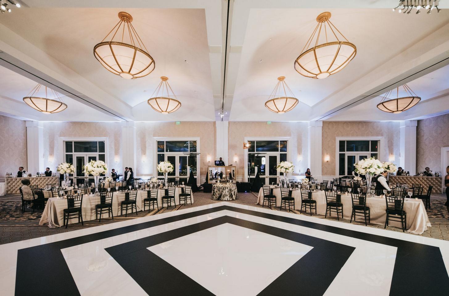 Black and White Custom Dance Floor | Downtown Dallas Wedding