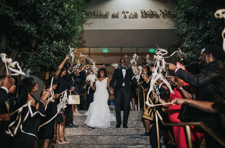 Streamer Wedding Exit | Downtown Dallas Wedding Reception