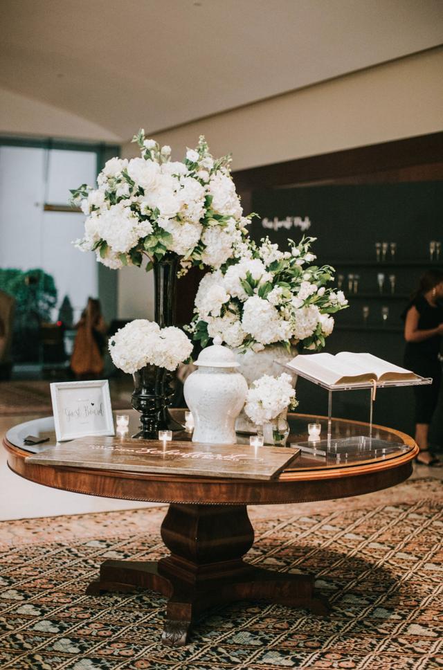 Modern White Wedding Reception | Downtown Dallas Wedding