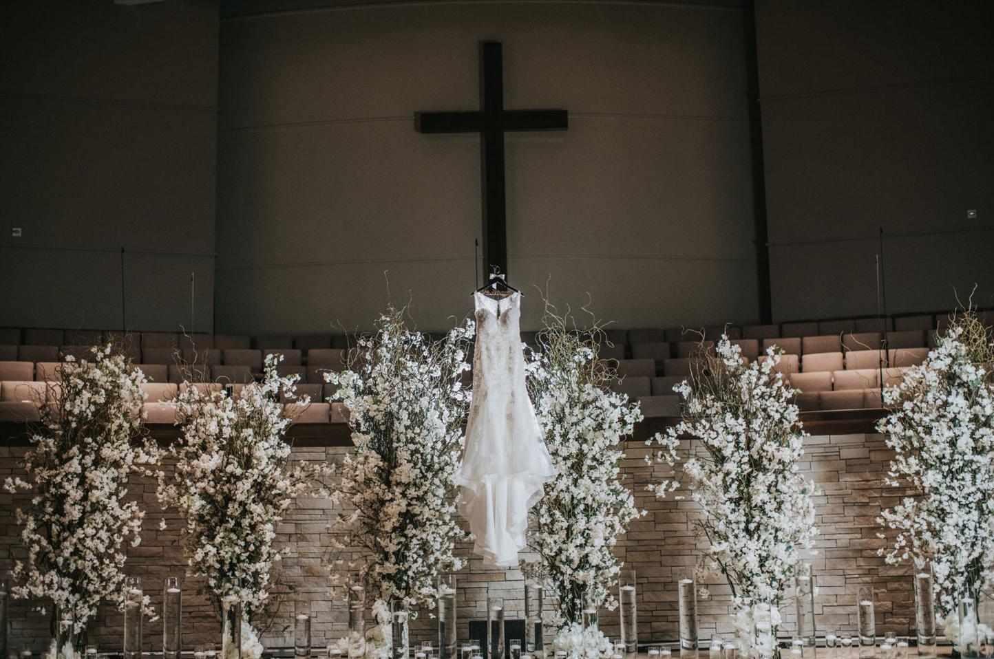 Floral Ceremony Backdrop | Downtown Dallas Church Wedding