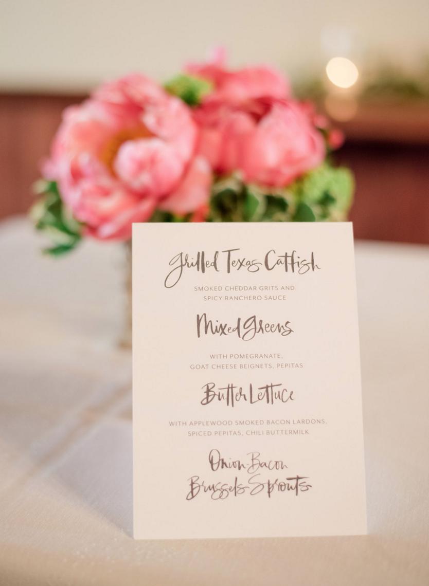 Custom Wedding Menu Cards | Rustic Outdoor Texas Rehearsal Dinner