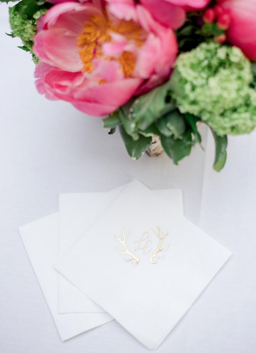Custom Gold Foil Monogram Wedding Cocktail Napkins | | Rustic Outdoor Texas Rehearsal Dinner