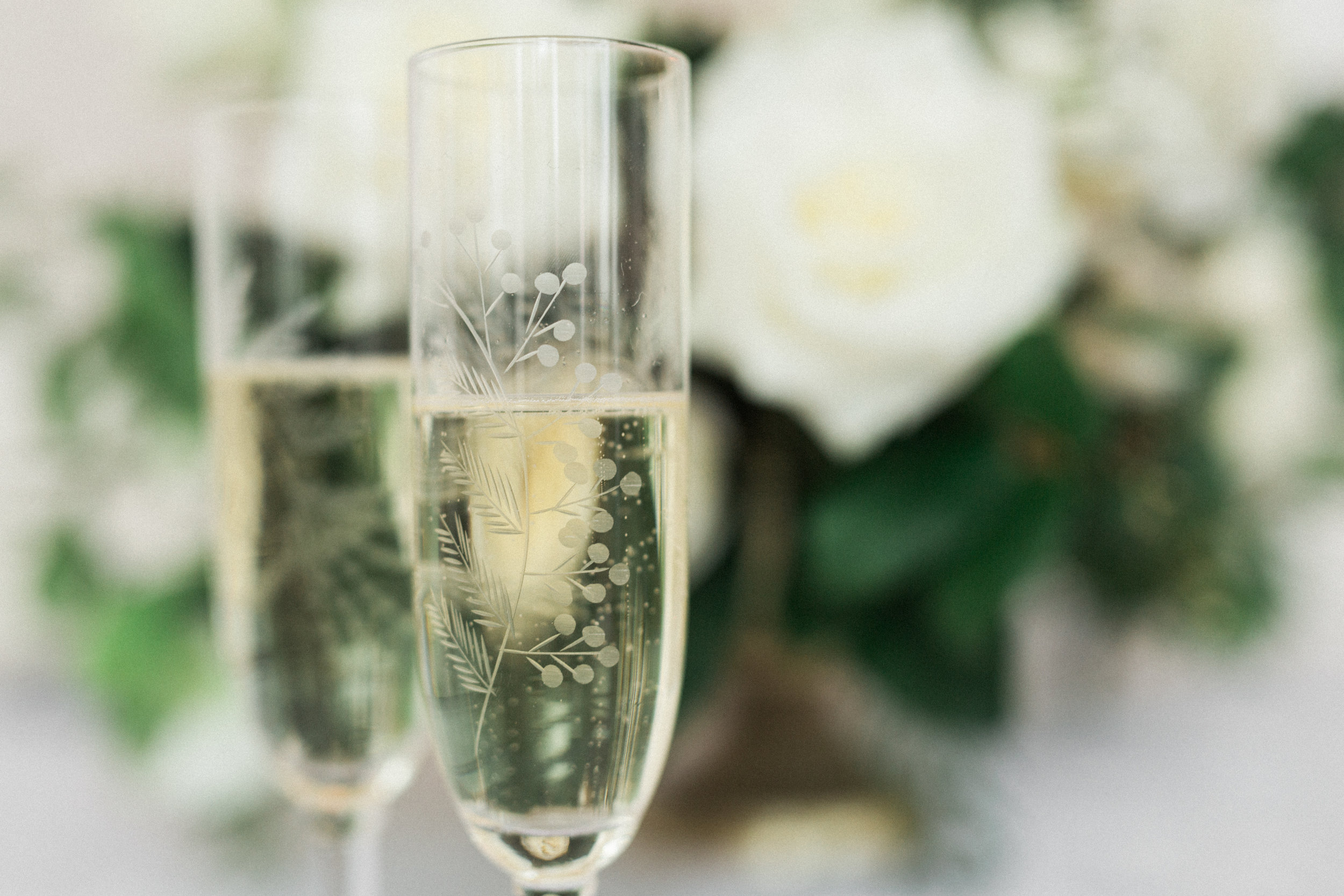 european spring wedding champagne glasses