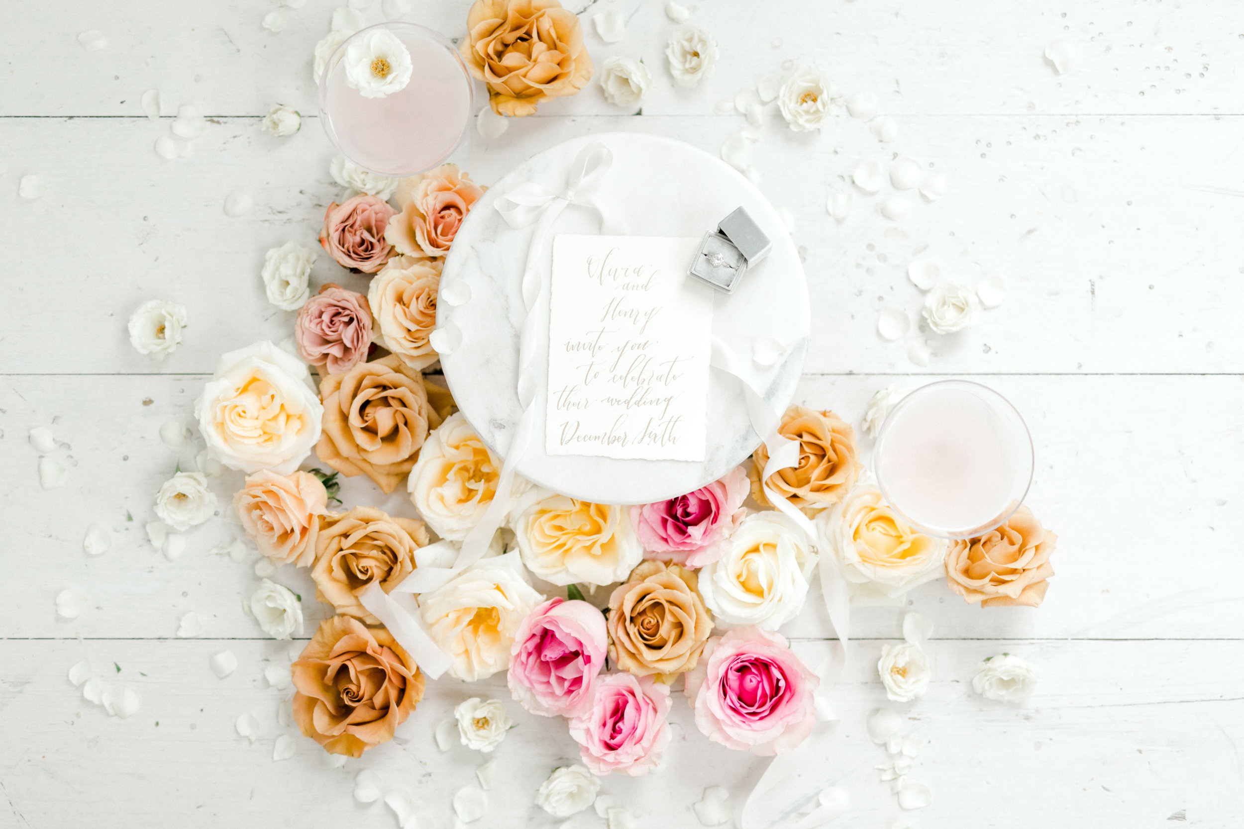 summer wedding detail invitation styling flatlay