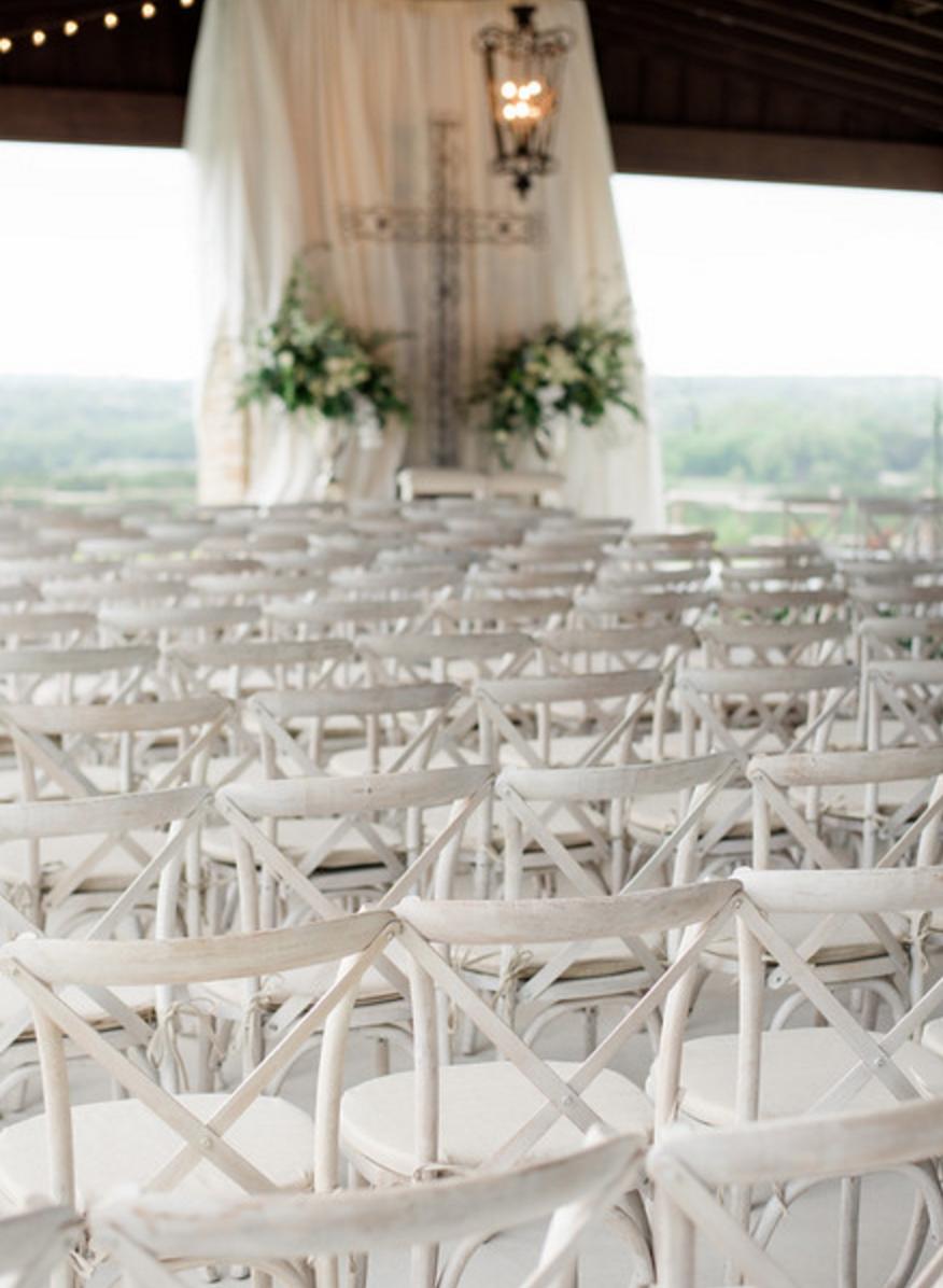 white vineyard wedding ceremony