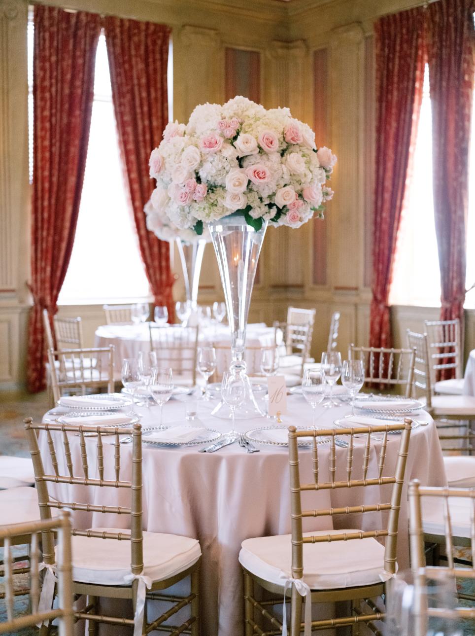 classic ballroom white and pink wedding flowers