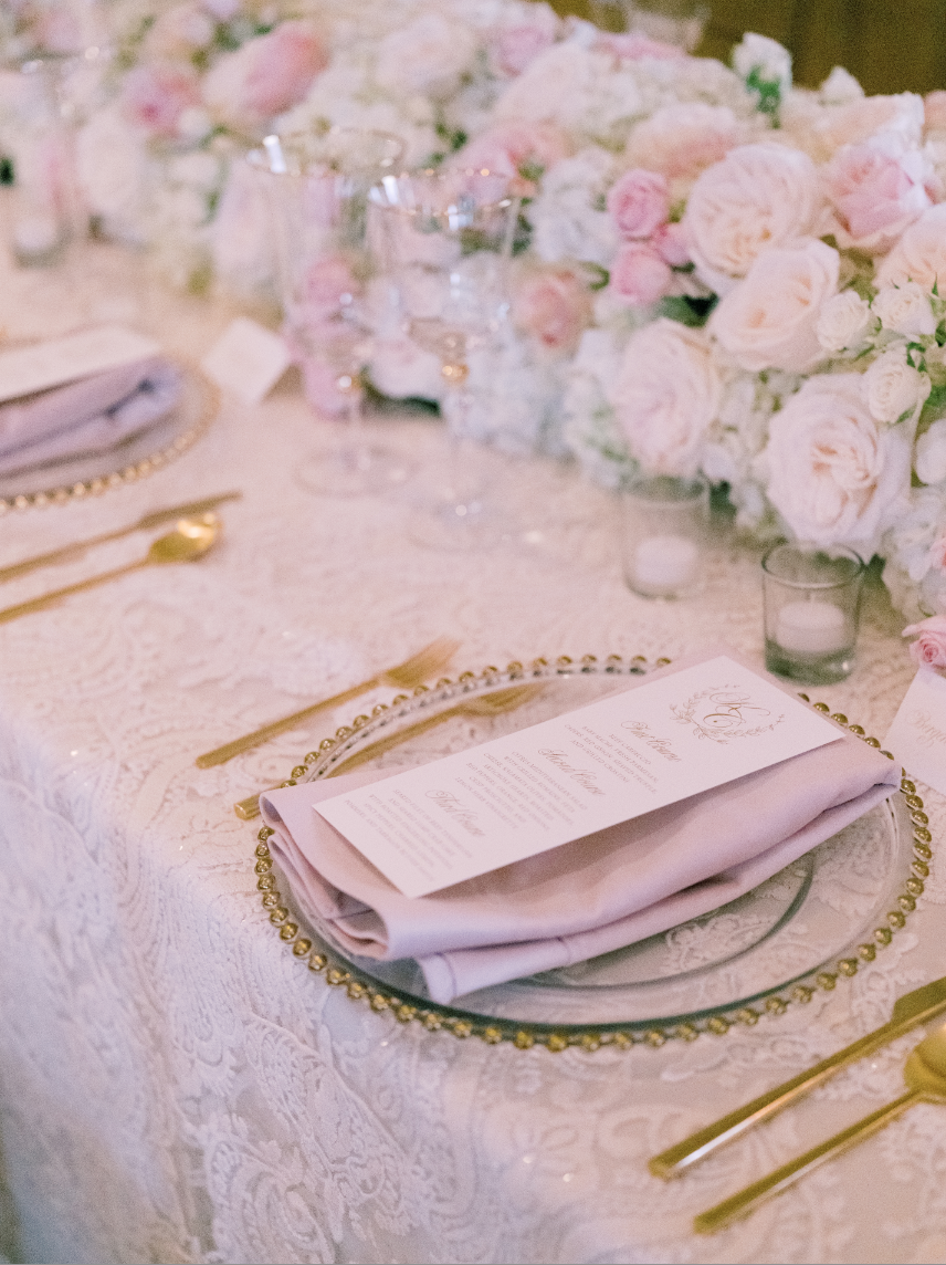 pink and gold wedding place settings