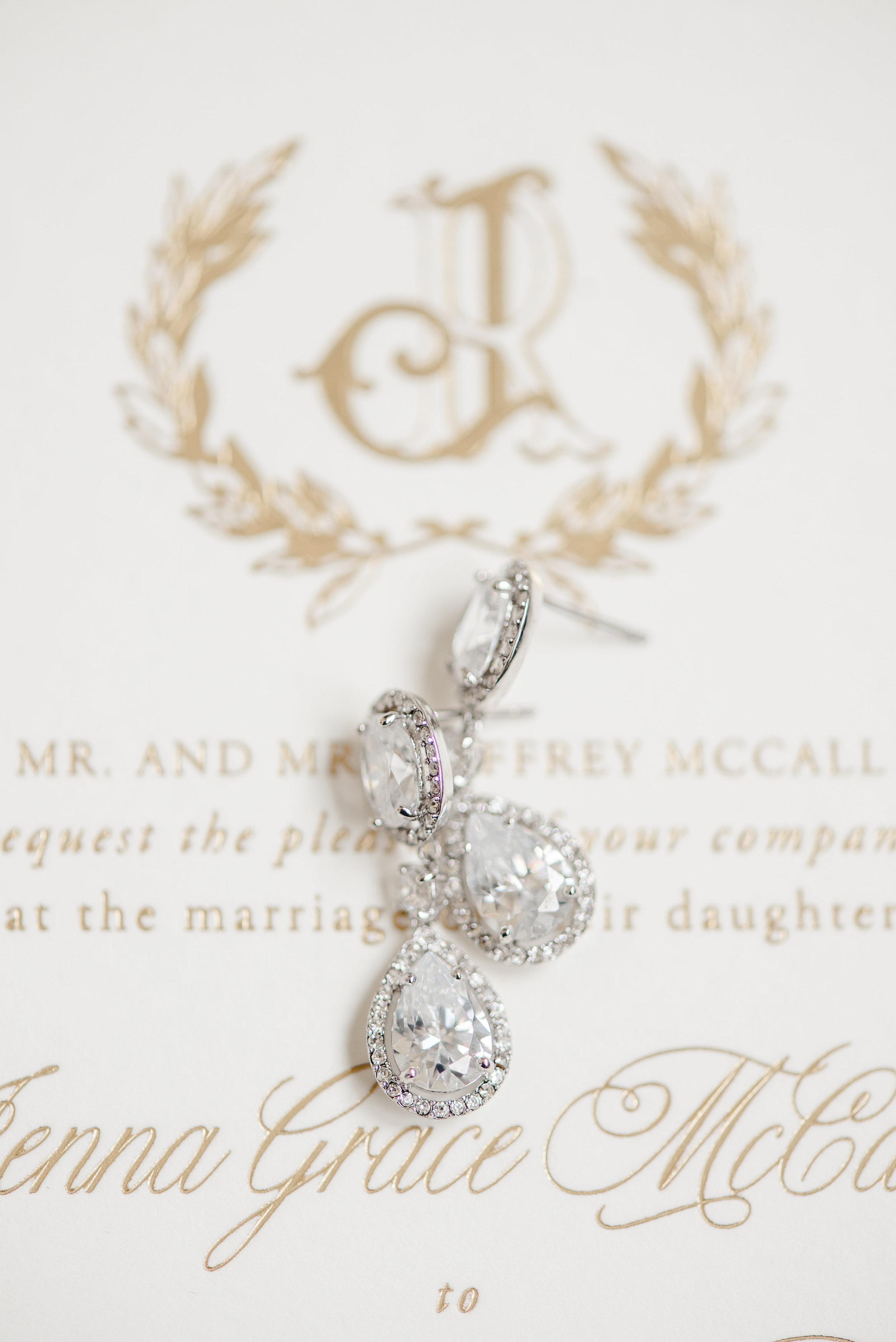 diamond drop wedding earrings