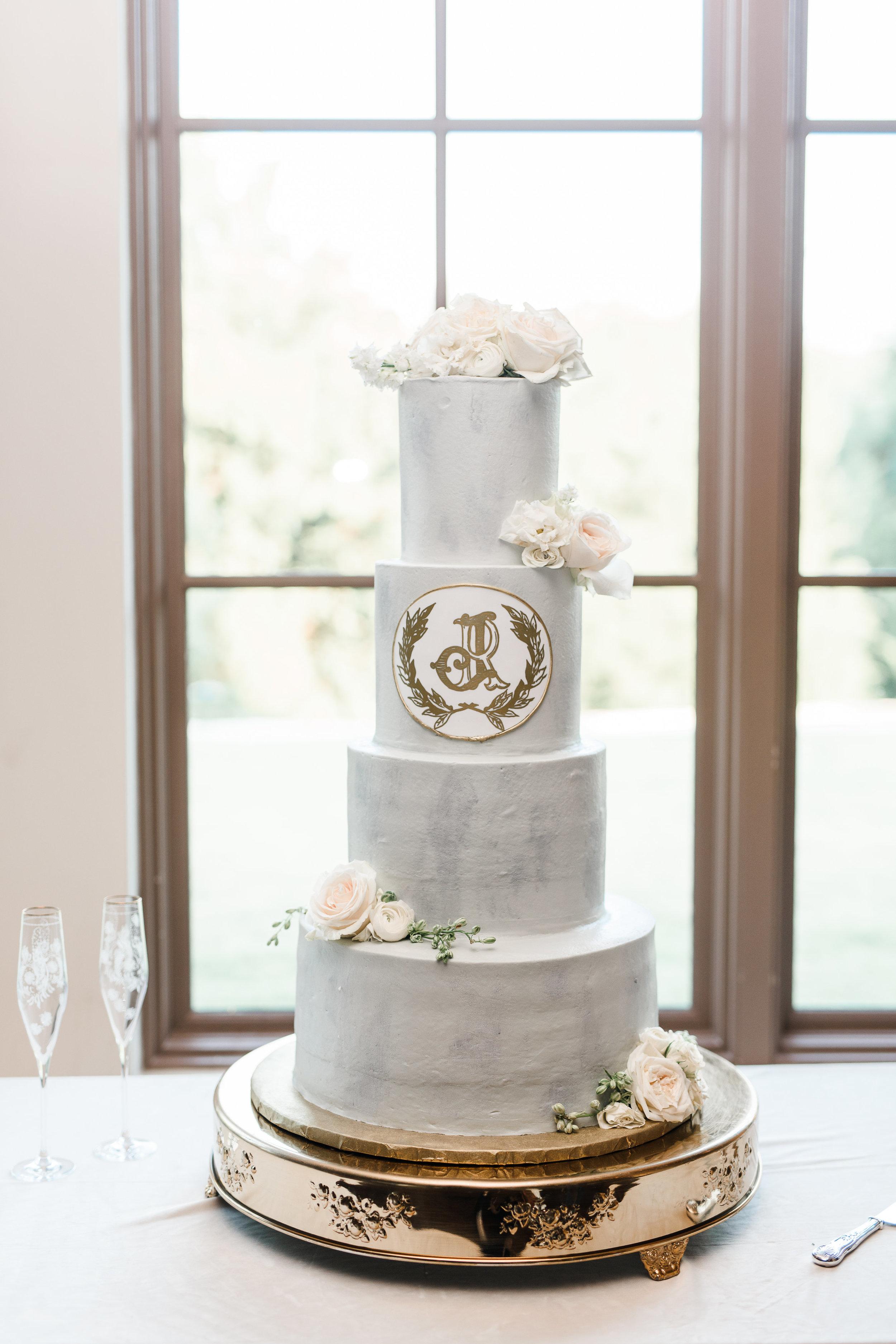 modern grey monogrammed wedding cake