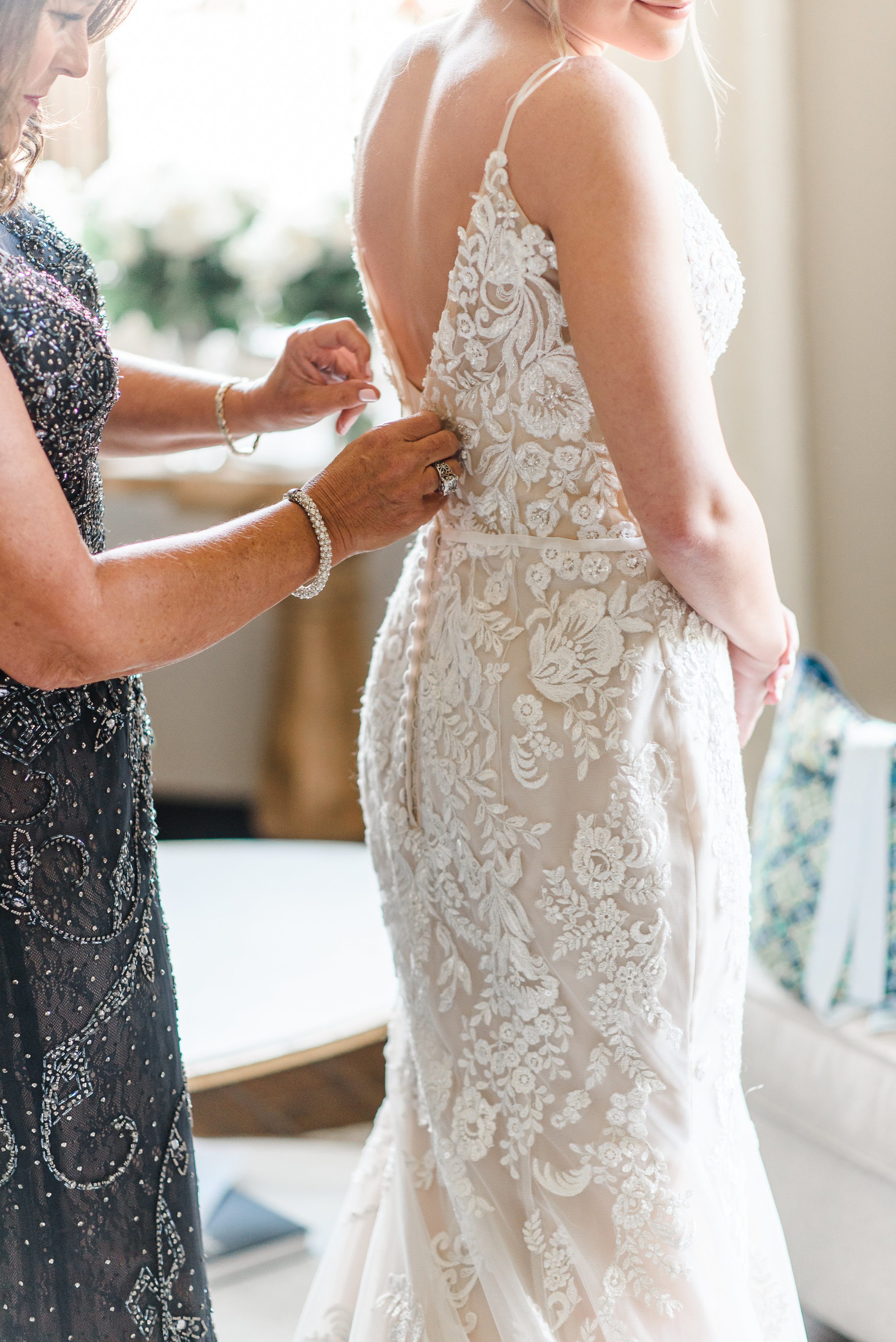 lace and button wedding gown