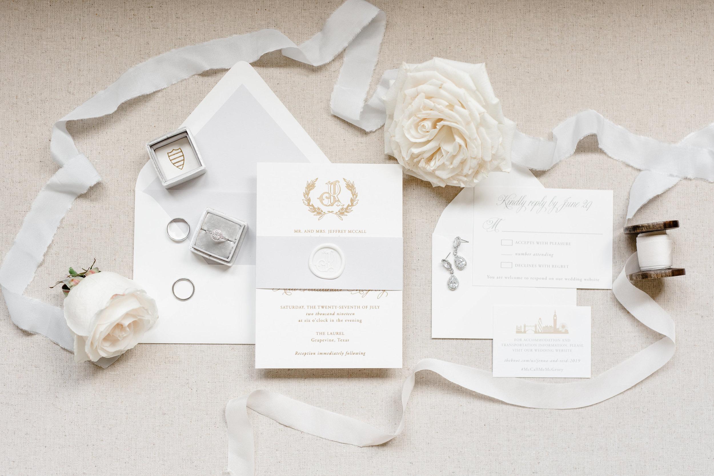 grey and gold wedding invitations