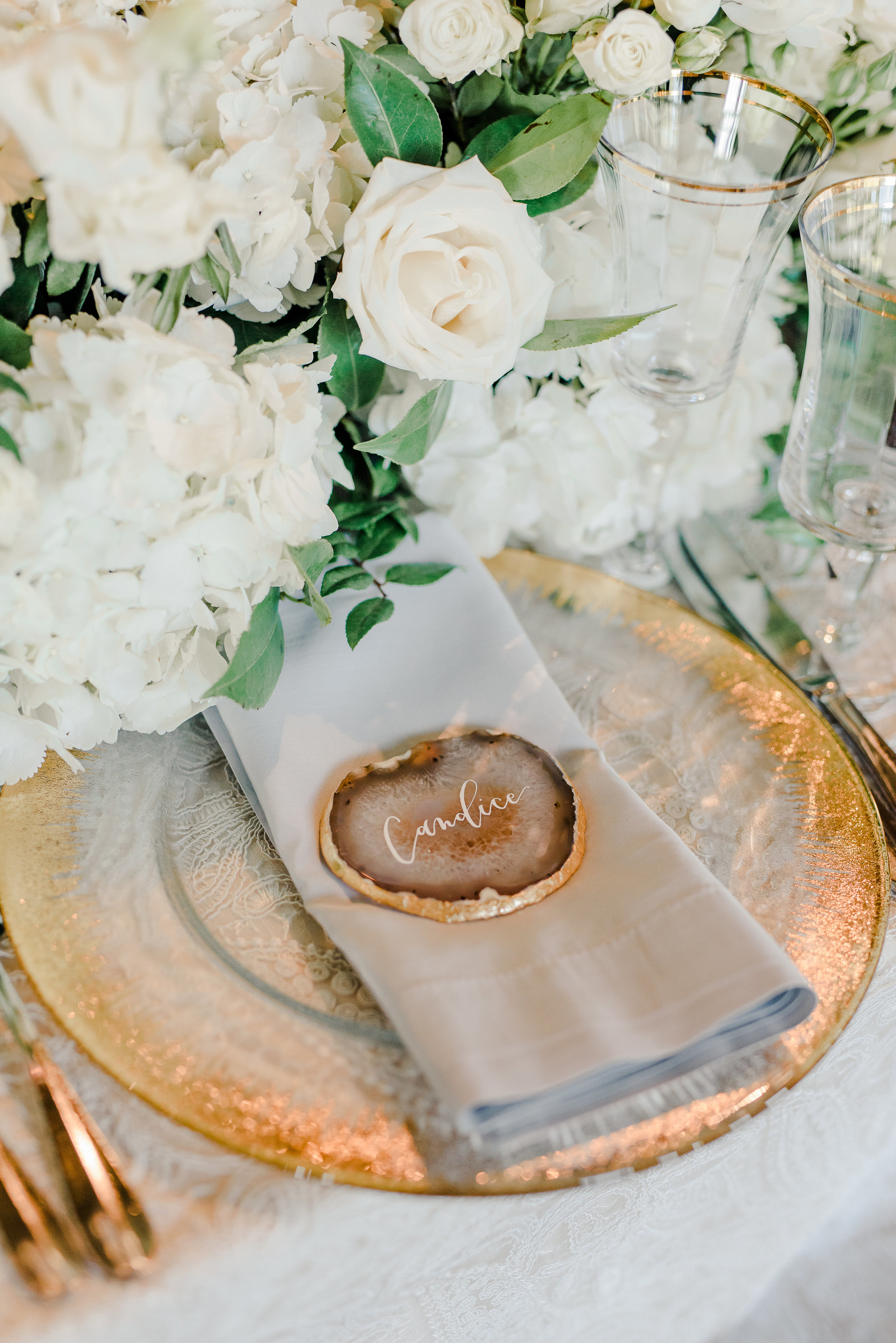 wedding head table place setting