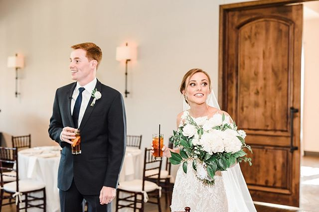 My (new) favorite thing to do with my couples is take them into the reception space before any guests are allowed in so they can see the finished product of all our planning! I think the pictures speak for themselves 😂