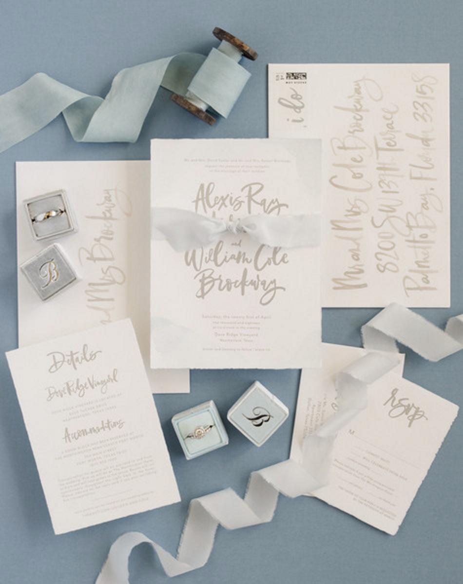 blue and silver organic vineyard wedding invitations