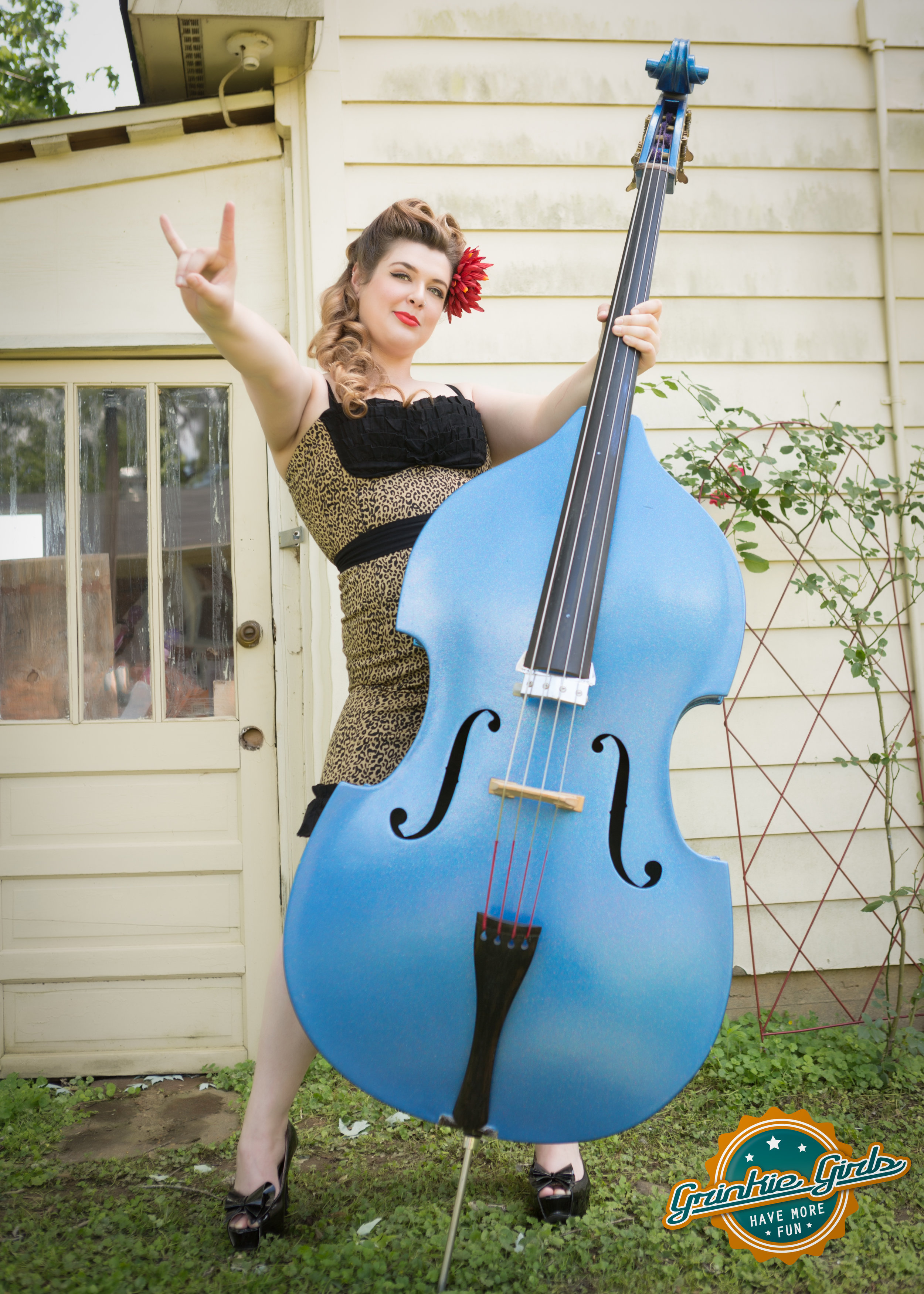 Blue stand up bass grinkie pin up photography.jpg