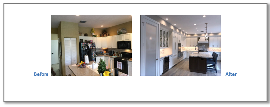 "By opening up the wall to the Dining Room, the Kitchen area was doubled in size and given a brand new look. White cabinetry with a darker island completed with quartz countertops and decorative pendant lights enhanced the overall look. ""Wow it does not even look like the same house"""