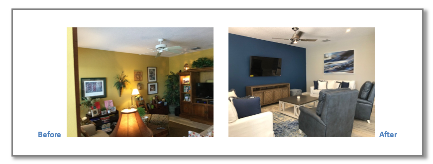 To update this Family Room, the use of neutral gray paint color with accented blue wall enhanced the room. Blue leather recliners and white sofas created a warm and elegant updated look.
