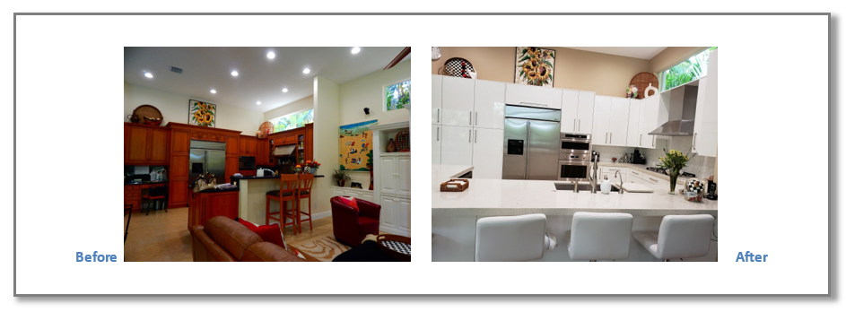 This Kitchen underwent a fire and had to be completely rebuilt. The Client was very happy with the transformation.
