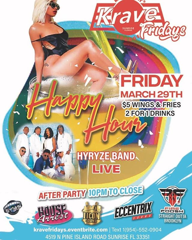 Come out Tomorrow night and vibe with us @krave_fridays @kravelounge!!! A guaranteed amazing night!! See you there!! . . . #music #bands #liveband #vibes #life #2019 #soca #reggae #rnb #dancehall  #krave #hyryzeband #entertainers #happyhour