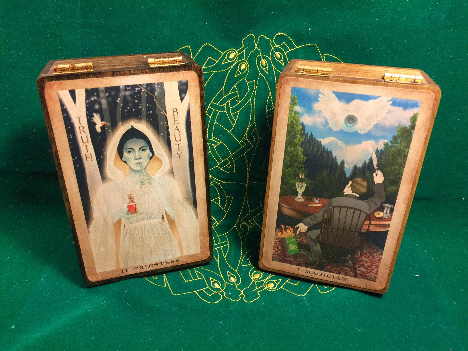 Handmade boxes of poplar wood featuring images from our deck