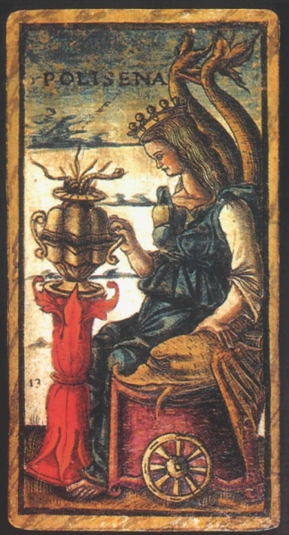 The  Queen of Cups  for the Sola-Busca Tarot