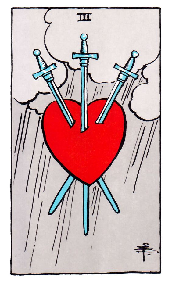 The  Three of Swords  for the Rider-Waite-Smith deck