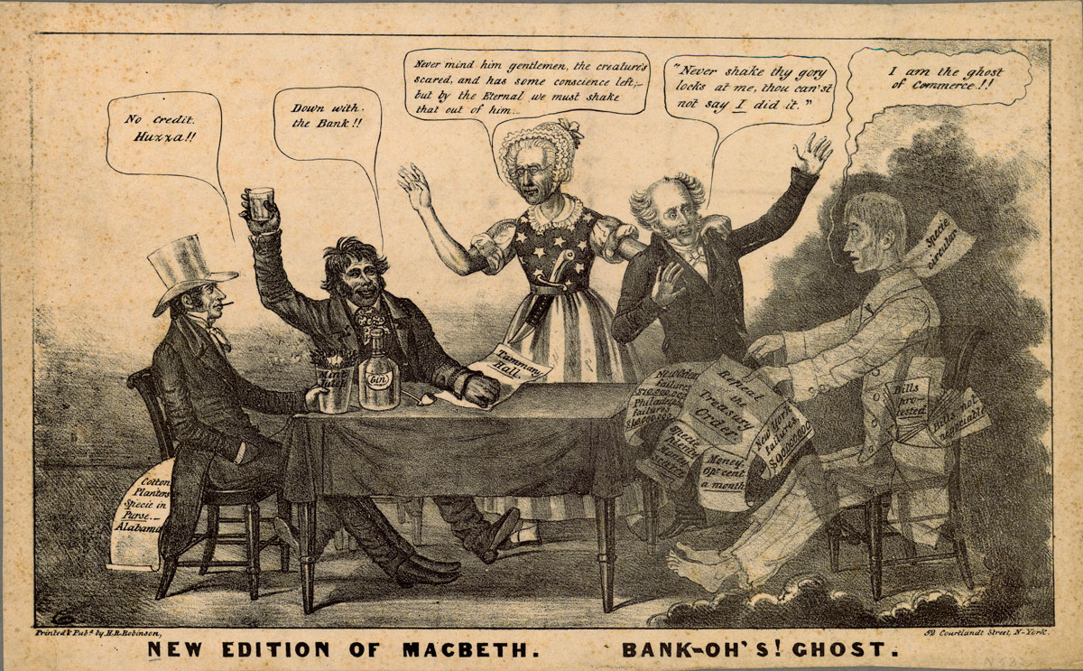 A cartoon about the bank panic of 1837