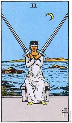The Two of Swords in the Rider-Waite-Smith deck.