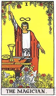 Iconic image from the Rider-Waite-Smith Tarot that dates to 1909