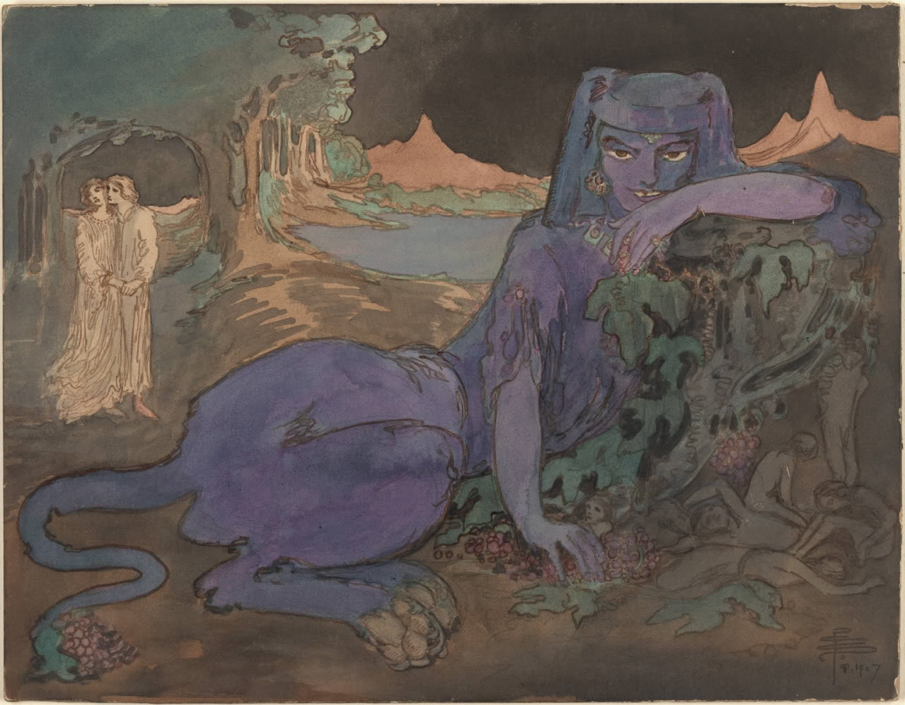 """The Blue Cat"" by Pamela Colman Smith, 1907, courtesy of    Mary Greer"