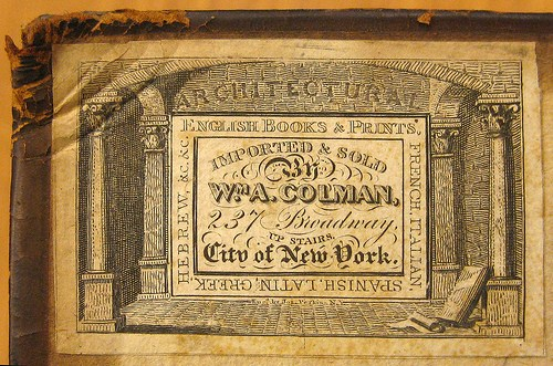 Book label from William Colman's shop. For image source and more on the legendary book shop, click    here   .