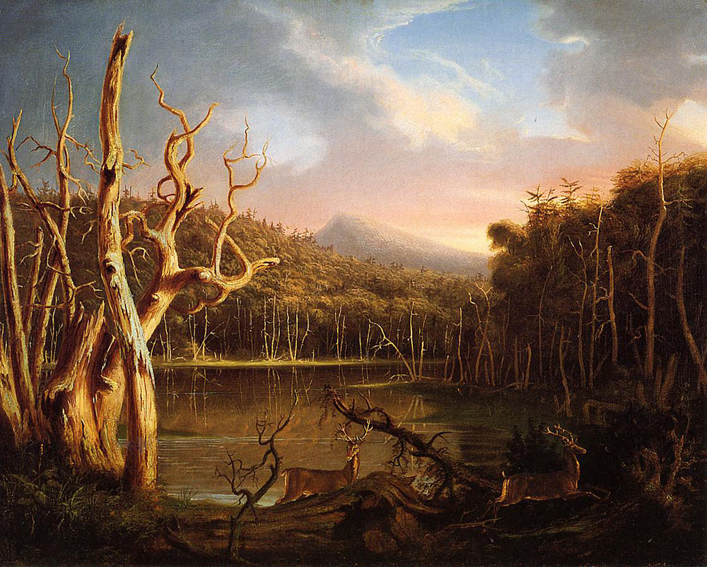 One of the paintings that Thomas Cole displayed in William Colman's shop window in 1825,  Lake with Dead Trees,  which launched an original movement in American art.