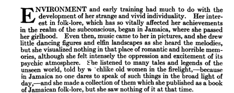 Image of the paragraph in the  Craftsman  magazine describing Pamela Colman Smith's exposure to Afro-Jamaican culture.