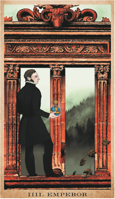 The Emperor for  The American Renaissance Tarot,  inspired by Longfellow's  Hyperion , a book published by Pamela Colman Smith's grandfather.
