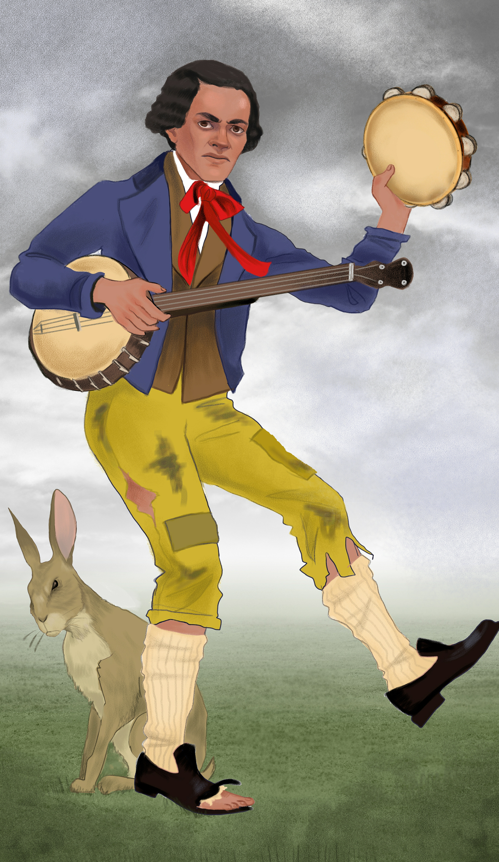"The Two of Coins for  The American Renaissance Tarot.  Here we've used the pain on William Wells Brown's face to dramatic contrast with the happy-go-lucky role he was made to play as a slave. The hare represents the Yoruba trickster character that got translated to ""Brer Rabbit"" in the United States."