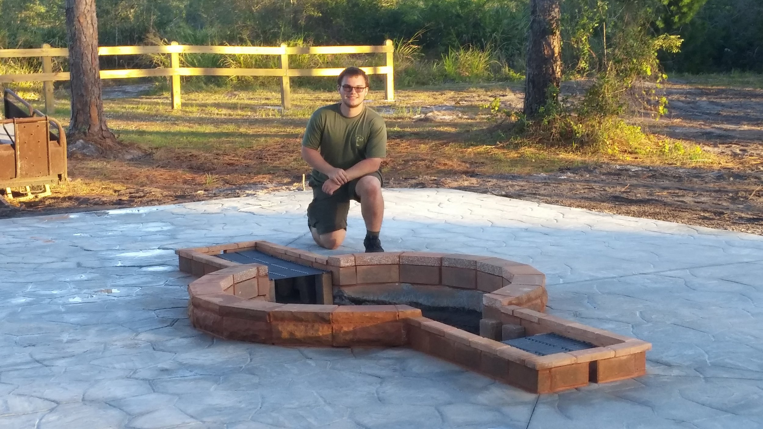 Zachary Barhold built an awesome Fire Pit on the grounds of Pass the Torch.