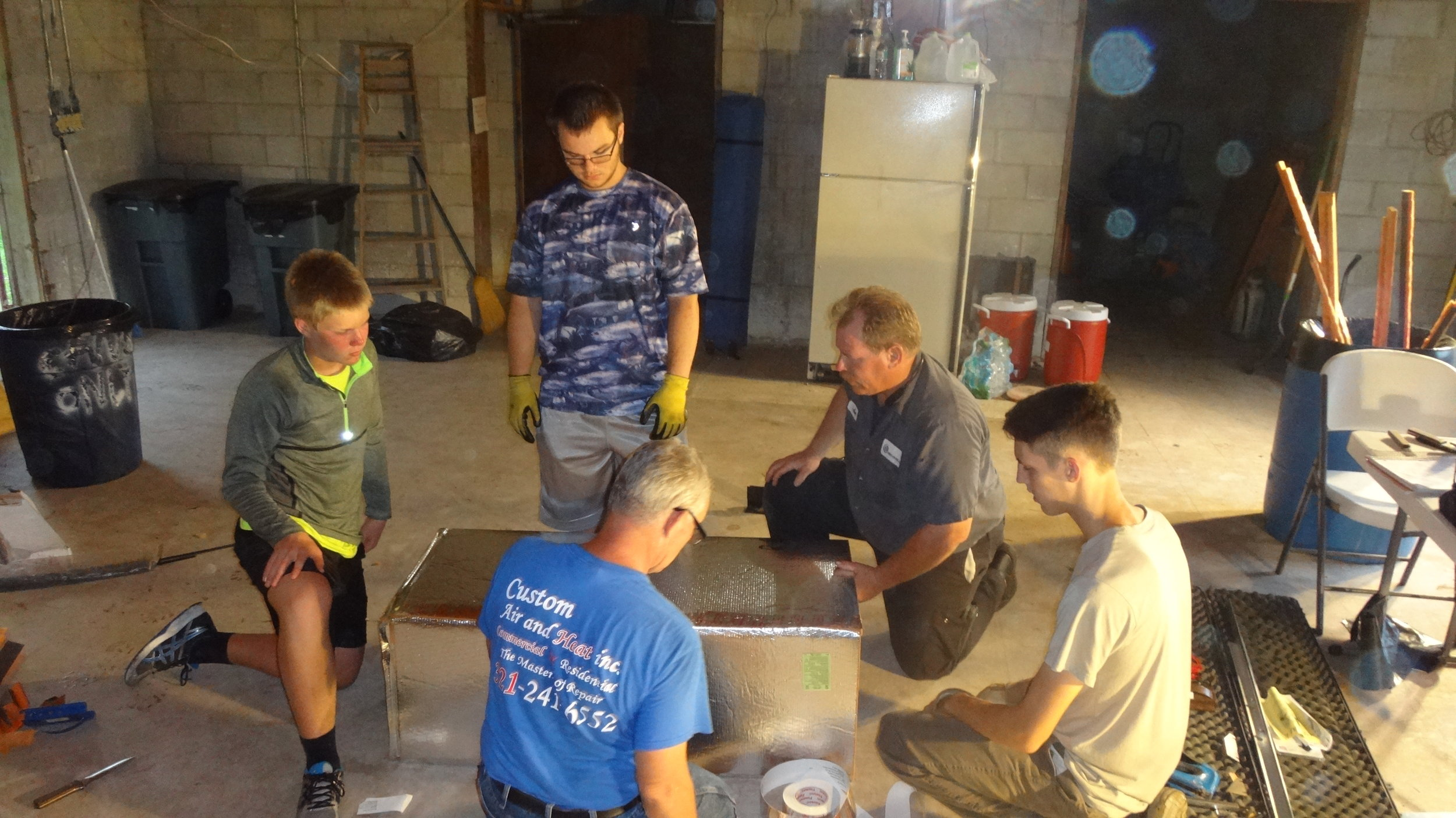 Mike, being a long time Boy Scout Leader took the time to teach our Boy Scouts how to form and install duct work.