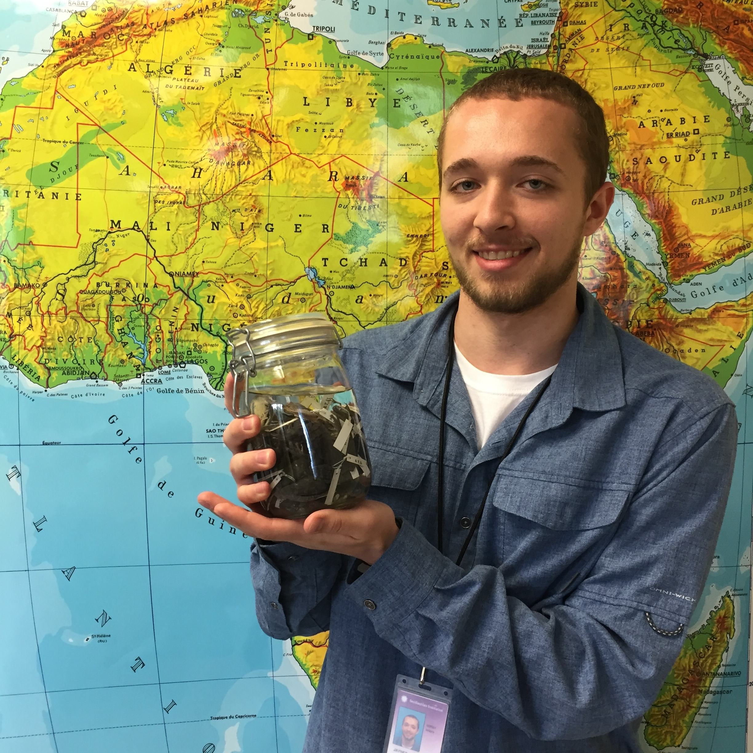 Kyle Jaynes - B.A. Environmental Science + Biology, Adrian CollegePh.D. student Ecology, Evolutionary Biology + Behavior, Michigan State UniversityKyle was an intern in the NSF-REU Natural History Research Experience program at the National Museum of Natural History in the Bell Lab for summer 2017 and continued his research on Leptopelis tree frogs as his senior research project at Adrian College. Kyle joined Dr. Sarah Fitzpatrick's lab at Michigan State University in fall 2018!