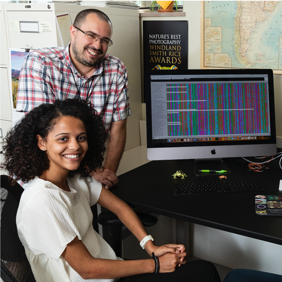 Maya Woolfolk - B.A. student Biology, University of KentuckyMaya was an intern in the NSF-REU Natural History Research Experience program at the National Museum of Natural History in the Bell Lab for summer 2018. She worked with postdoc Dr. Ryan Schott on molecular evolution of vision genes in frogs.