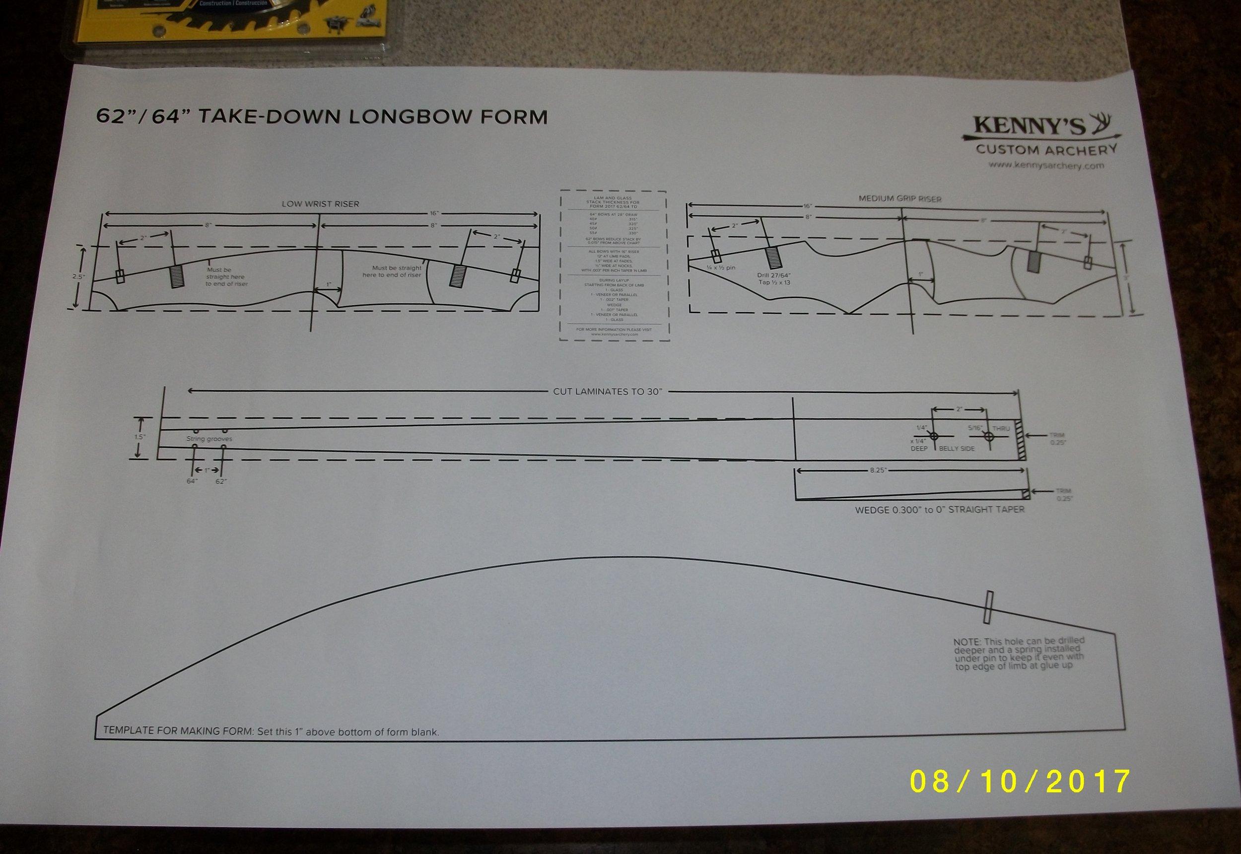 """62/64"""" D/R takedown longbow paper plan$10.00"""