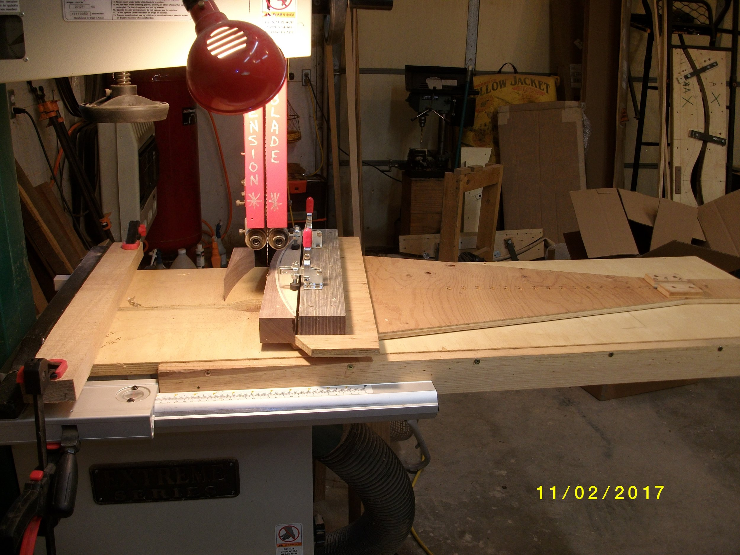 "Back to the swing jig to cut the back of riser. This bow takes a 27"" radius to fit form with lams under riser that go there."