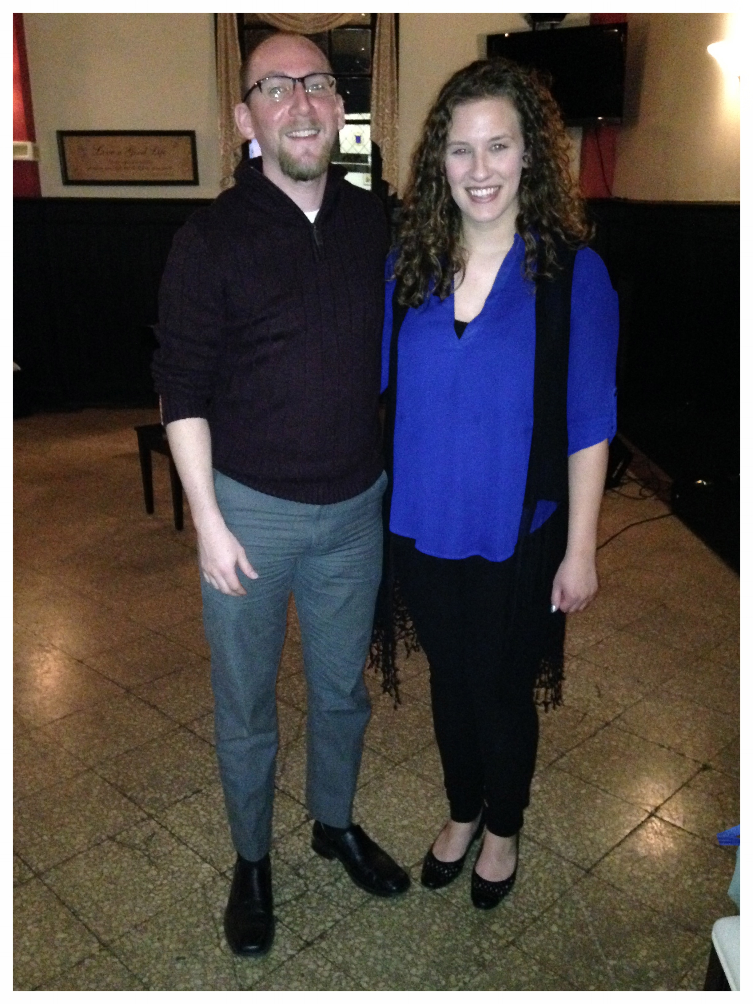 """Brian and Chelsea at their first gig in """"The Supper Club"""" in Greensburg, PA."""