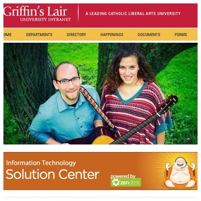 """Brian and Chelsea make the cover of Seton Hill University's Intranet, """"Griffin's Lair"""", on the release date of """"The Cover-Up"""" in 2015."""