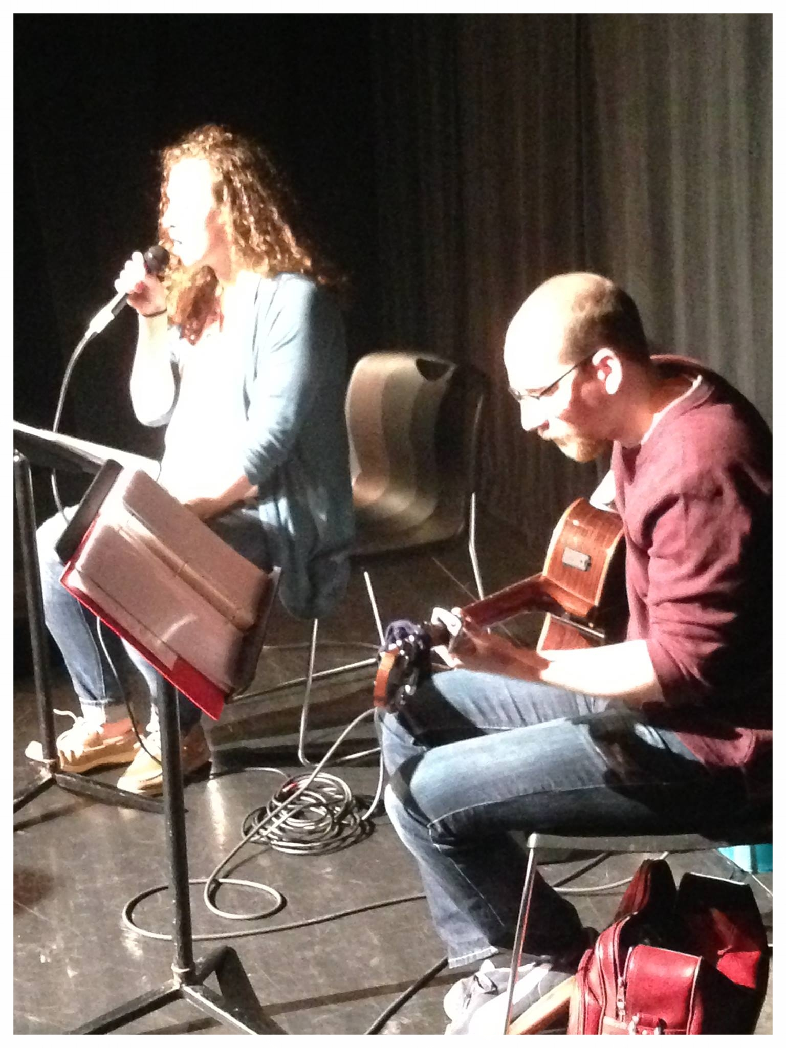 """Chelsea and Brian perform at Seton Hill University's """"She Kills Monsters"""" after party."""