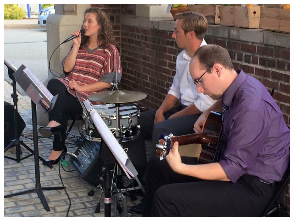 """Brian and Chelsea perform alongside percussionist Ben Wingrove for the annual """"Pig Roast"""" in Greensburg, PA."""